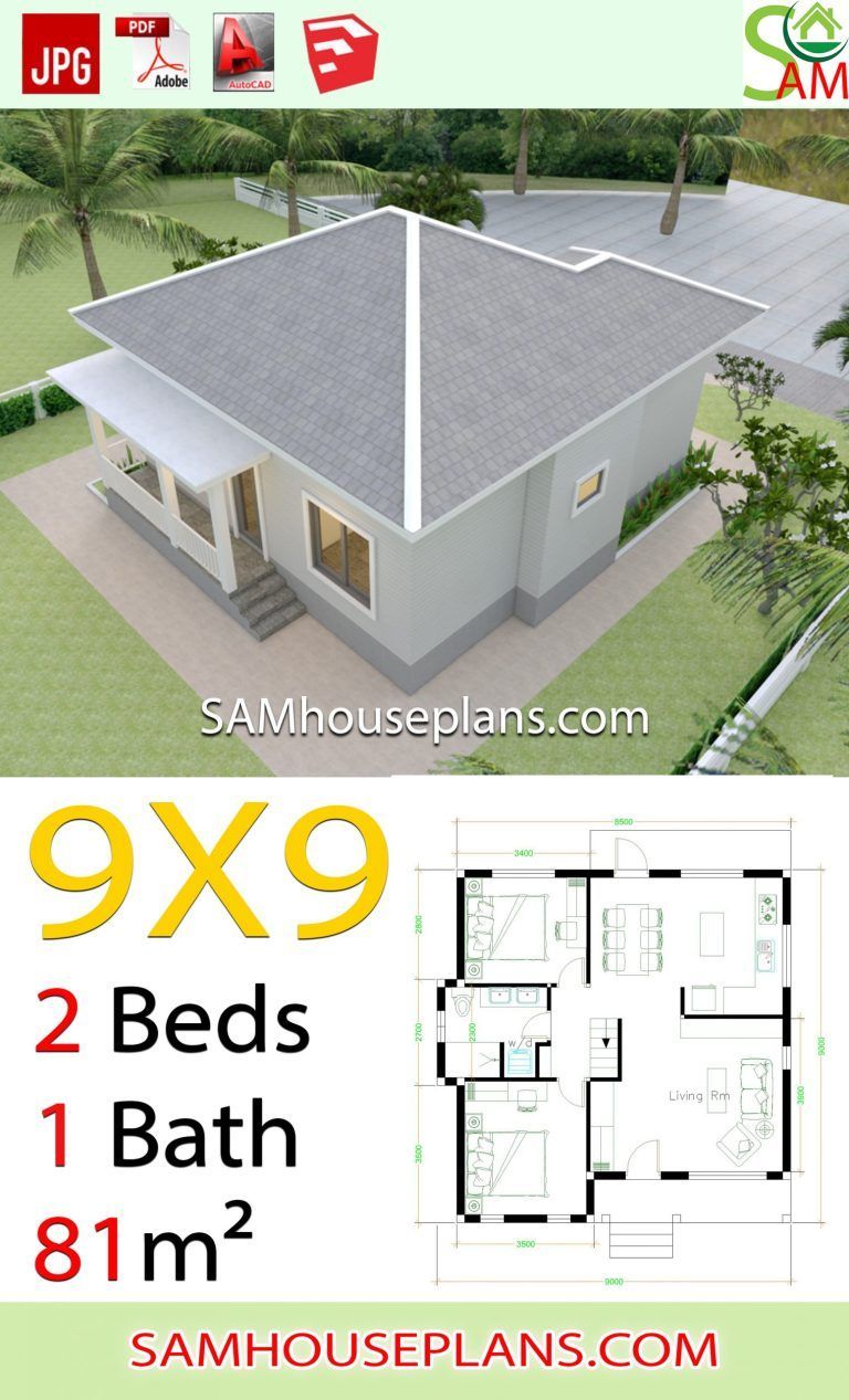 House Plans 9x9 With 2 Bedrooms Hip Roof House Plans Hip Roof