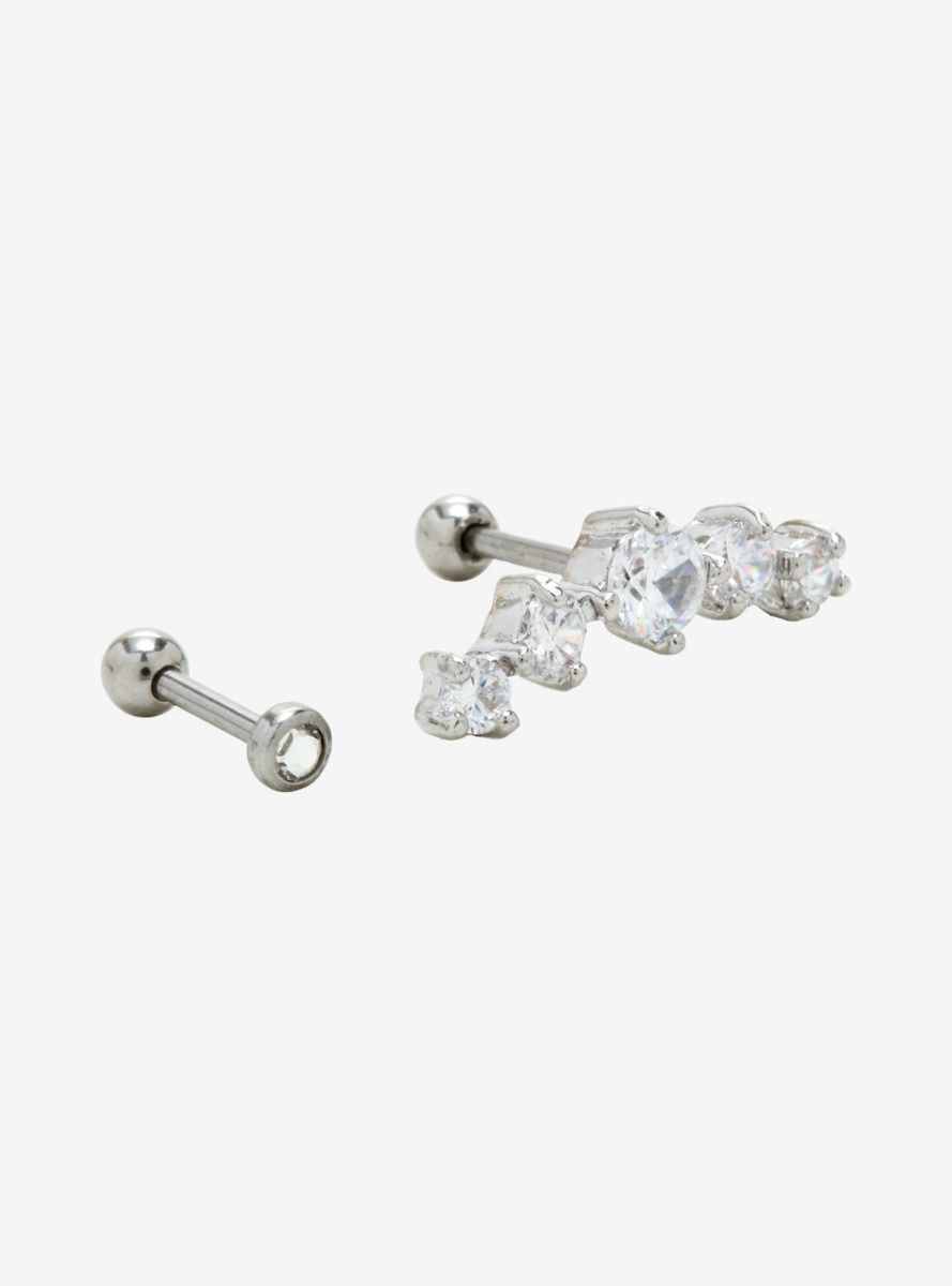 18g Steel Clear Gem Cartilage Stud 2 Pack In 2019 Products