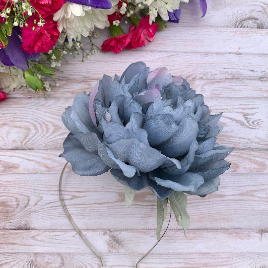 Dusky Blue Oversized Peony Flower Fascinator — Rock n Roll Soul Designs #bluepeonies
