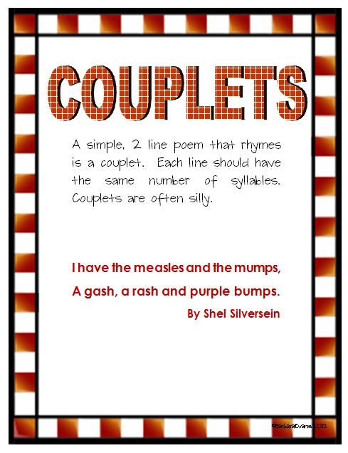 Couplets A couplet is a pair of lines of metre in poetry. Couplets ...