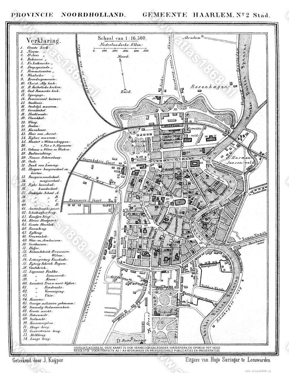 Oude Kaart Haarlem Stad Noord Holland In 2020 Haarlem Oude