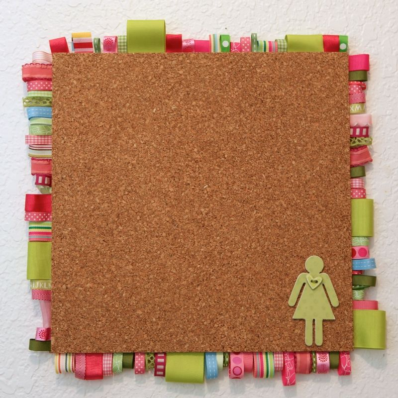 easy use for ribbon scraps! | Cork board projects, Cork ...
