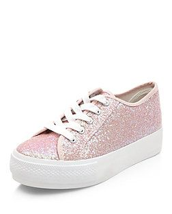 Pink Glitter Lace Up Flatform Trainers | New Look