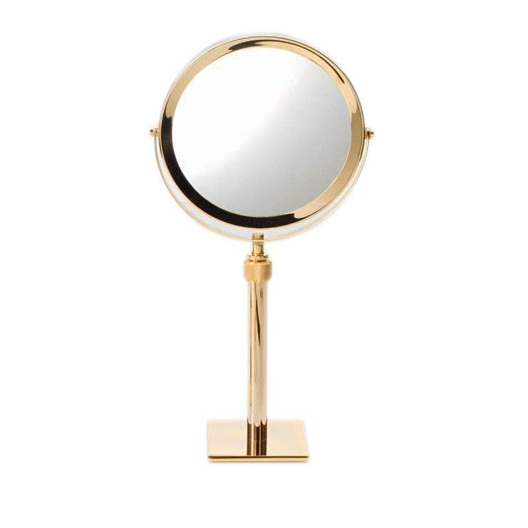 Style Of Luxurious modern high end contemporary free standing countertop reversible gold magnifying mirror Picture - Simple magnifying makeup mirror Photo