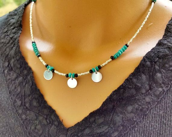 Turquoise and silver beaded necklace silver by TamDavisDesigns
