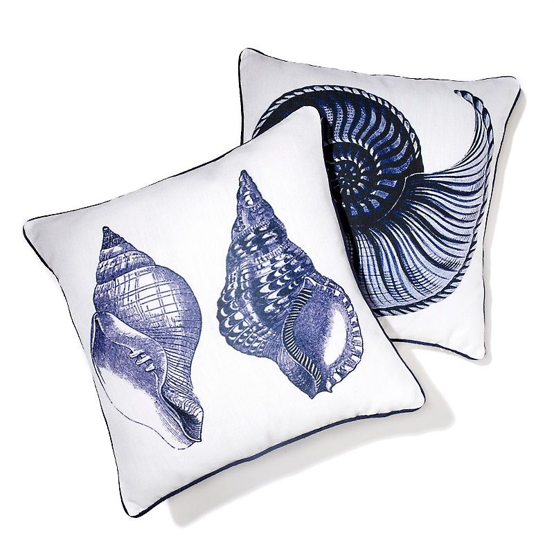 India Hicks Seashell Decorative Pillow Pair @HSN | India ...