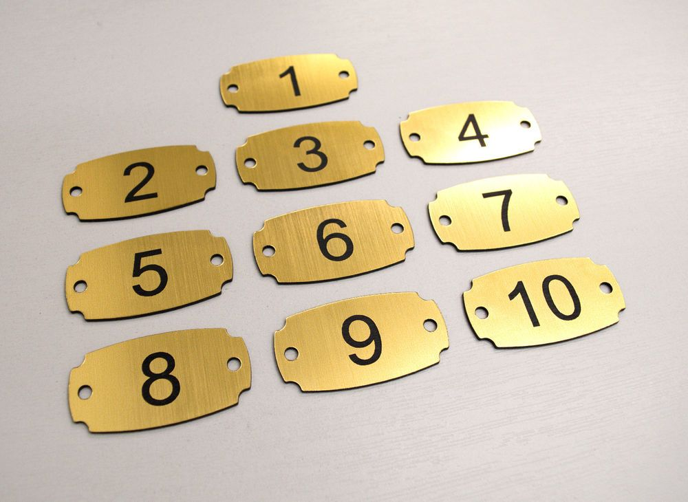 Restaurant Table Locker Pub Hotel Set of 10 Laser Engraved Number Tags