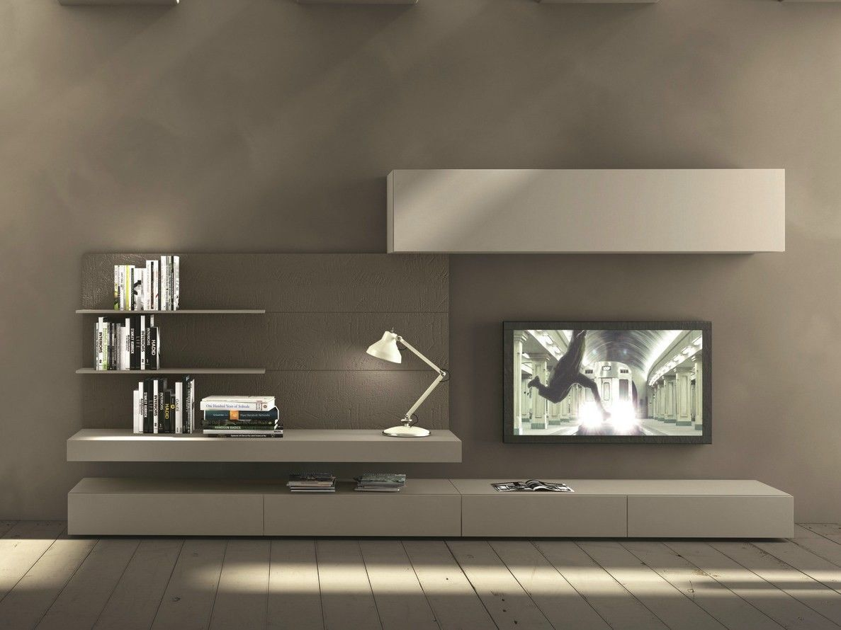 Sectional wall-mounted TV wall system I-modulArt - 277 by Presotto ...