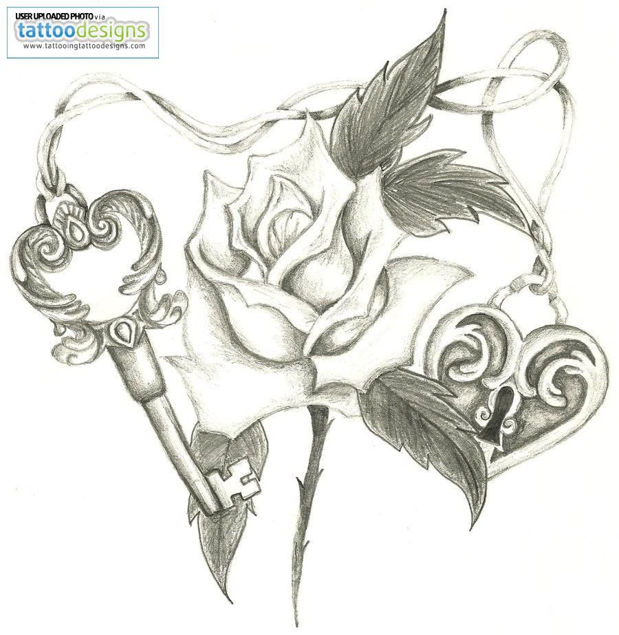 rose tattoos for girls rose and lock heart tattoo design for