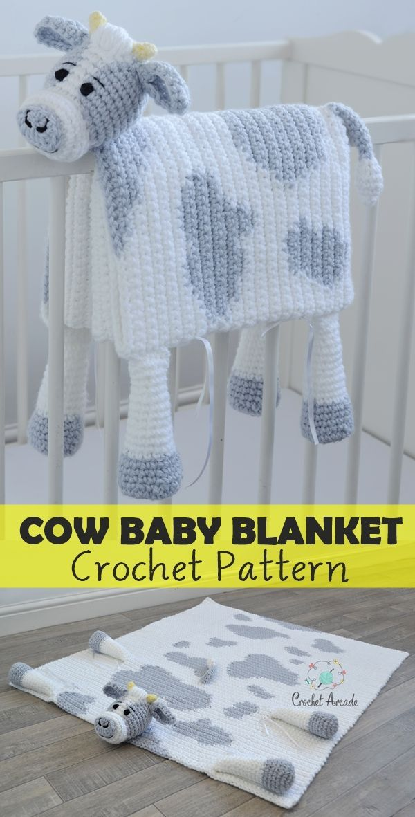 Cuddle and Play Cow Baby Blanket Crochet Pattern #crochetpatterns