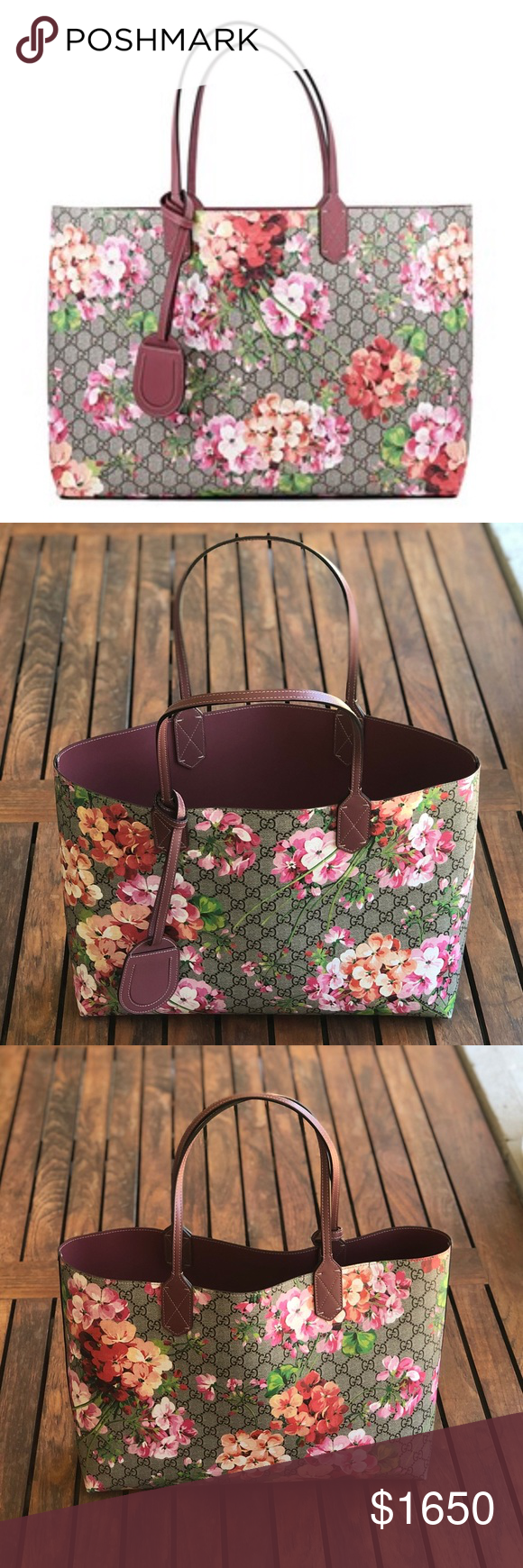 1406677bfb13 GUCCI GG Supreme Monogram Blooms Reversible Tote Authentic GUCCI Textured  Calfskin GG Supreme Monogram Blooms Print