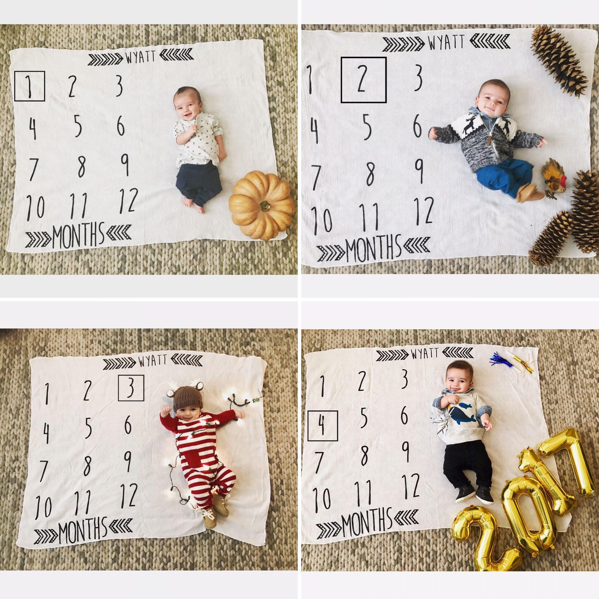 Baby Milestone Tracker Photos October November December January Baby Milestones Pictures Monthly Baby Pictures Monthly Baby Photos