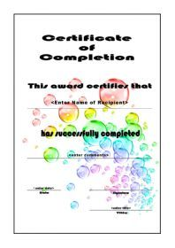 Free Certificate Template Of Completion A4 Portrait Bubbles
