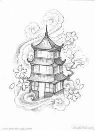 Japanese Pagoda Tattoo Designs Pinning For Clouds And Blossoms