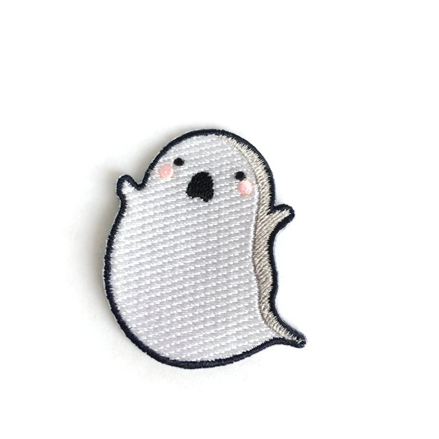 Ghost Patch Iron Sew On Halloween Spooky Embroidery Applique Embroidered Badge