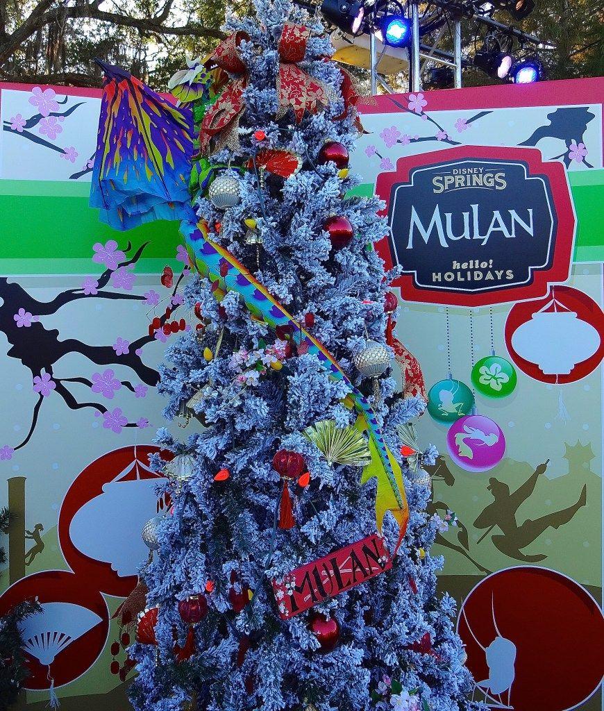 mulan themed christmas tree at disney springs christmas tree trail christmas tree themes disney christmas