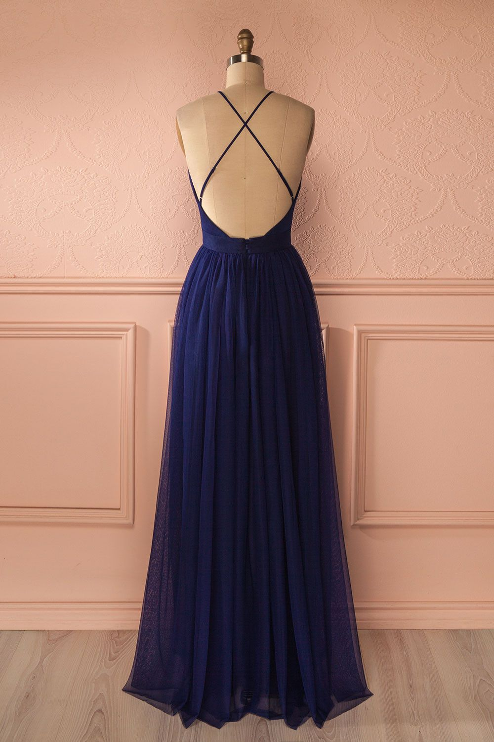 Prom dresses prom dresses fashion navy blue tulle backless prom