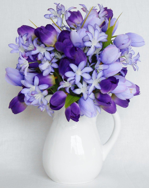 Artificial Flower Arrangement Purple Crocus Lavender Crocus White Pitcher Vase Silk F Artificial Flower Arrangements Flower Arrangements Artificial Flowers