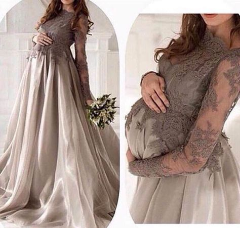 dc79ebe1536ef Online Shop New Fashion Arabic Long Sleeve Grey Lace Maternity Evening  Dresses 2016 Organza Formal Evening Gowns Robe De Soiree | Aliexpress Mobile