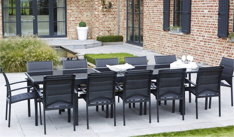 salon de jardin 8 ou 12 places table avec 1 grande rallonge plateau en verre aluminium. Black Bedroom Furniture Sets. Home Design Ideas