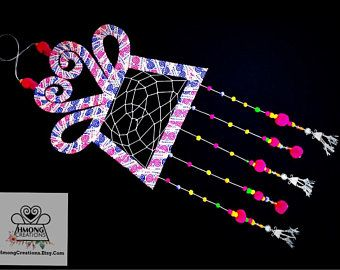 Hmong spirit lock dream catcher with second silver charms, Hmong