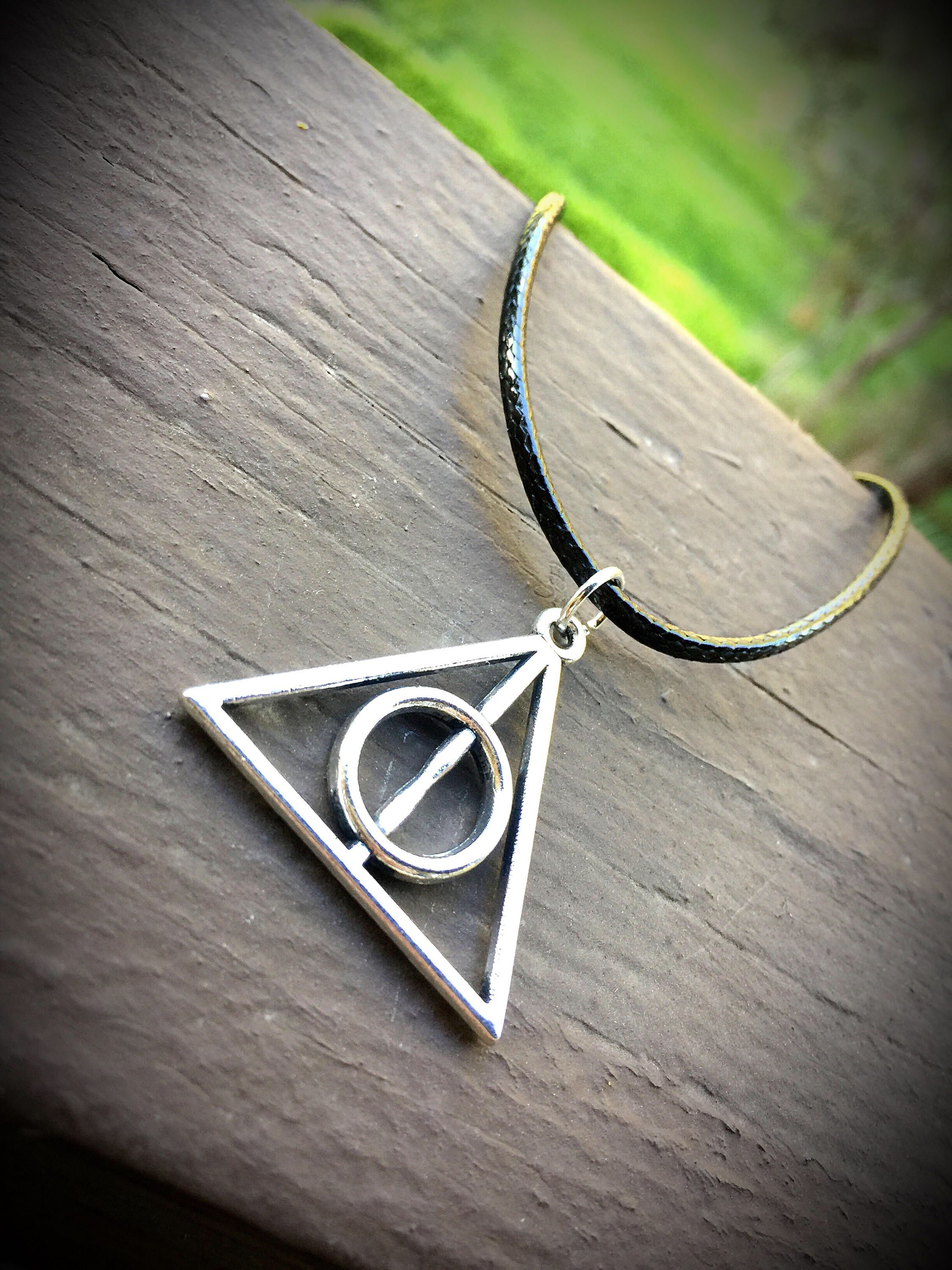 Harry Potter Necklace Silver Deathly Hallows Triangle Symbol