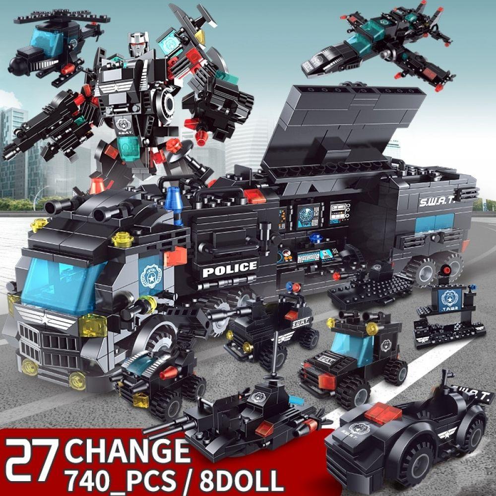 Building Blocks 8 Mini Figures Robot City Police Toys 740 Piece Police Toys Lego City Police Station Lego City Police