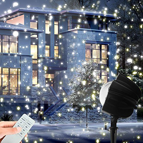 christmas led snowfall light rotating night light projector snow flurries spotlight wireless remote white snowflakes waterproof landscape lighting for xmas