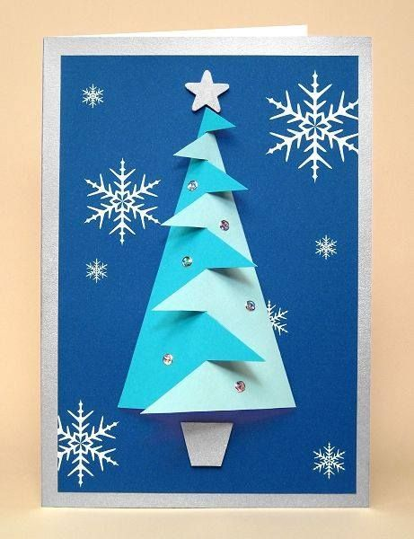How To Make Standing, Folded Paper Christmas Trees Cascading card