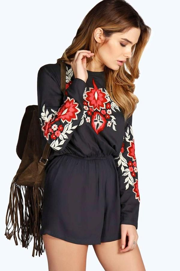 d362fee1a6 boohoo Denise Embroidered Floral Long Sleeve Playsuit