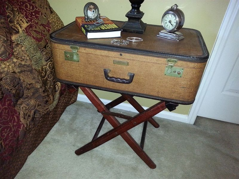 Awesome Vintage Suitcase And Luggage Rack Made Into A
