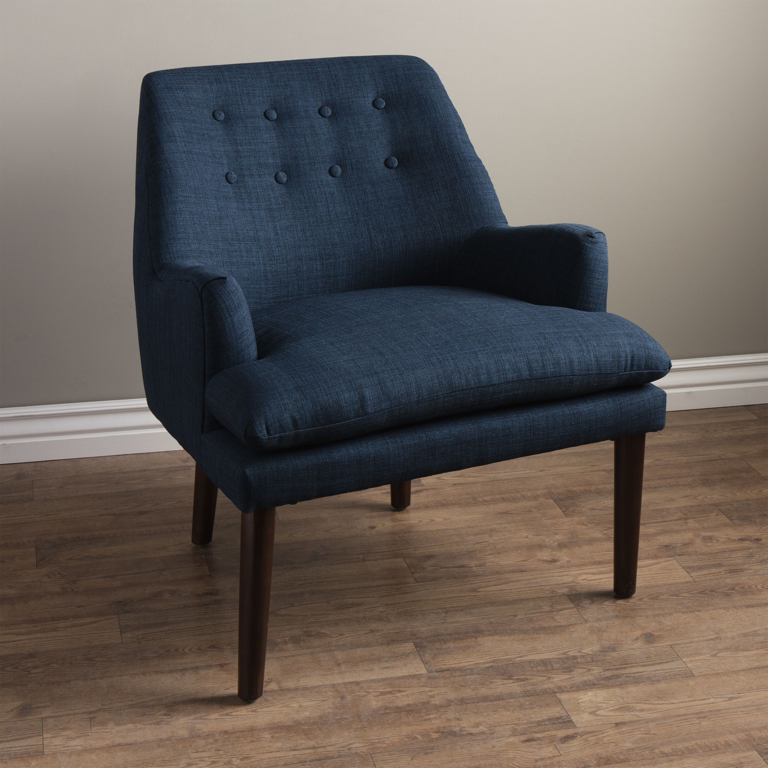 Taylor mid century navy blue tufted accent chair overstock com shopping the best deals on living room chairs