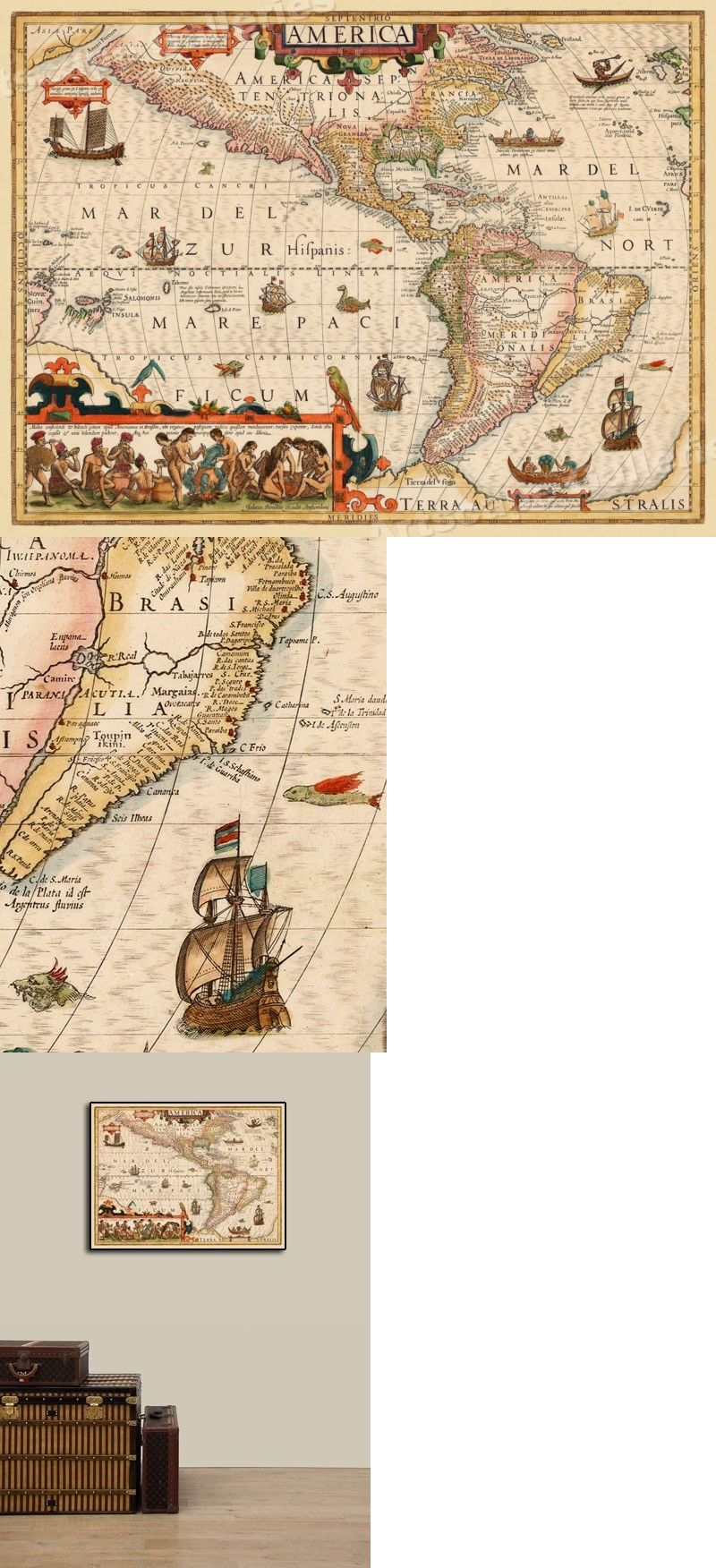 World Maps 98466 New World North South America 1639 Vintage Style