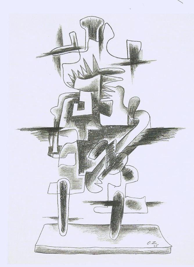 "Ossip Zatkine ""LE MERVEILLEUX RADEAU"" Charcoal drawing on BFK Rives, Monogrammed, 1965  Size: 66 x 50 cm ""Cubism"" Available at hundertmarkartfair"