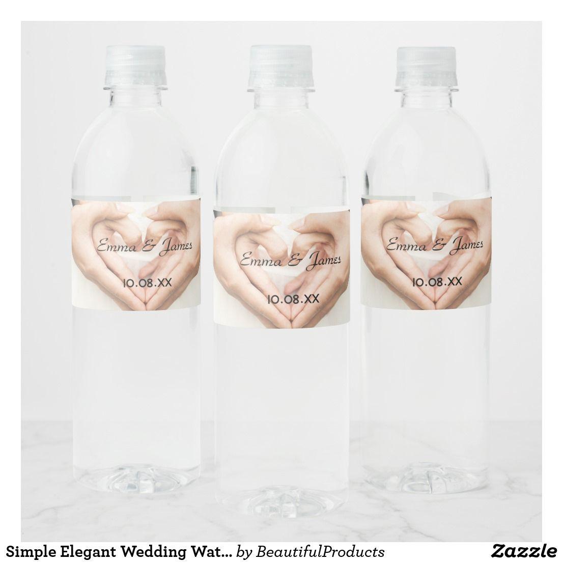 Simple Elegant Wedding Water Bottle Labels