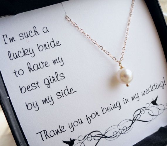Items Similar To Bridesmaid Thank You Cards Necklace Gift Set Gifts Pearl Bridal Party On Etsy