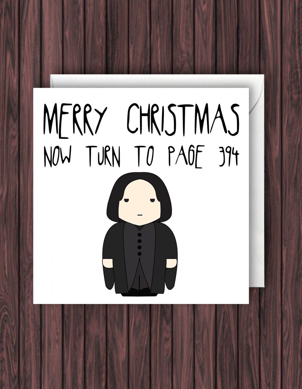Snape Christmas Harry Potter Christmas Card Geek Blank Card Funny