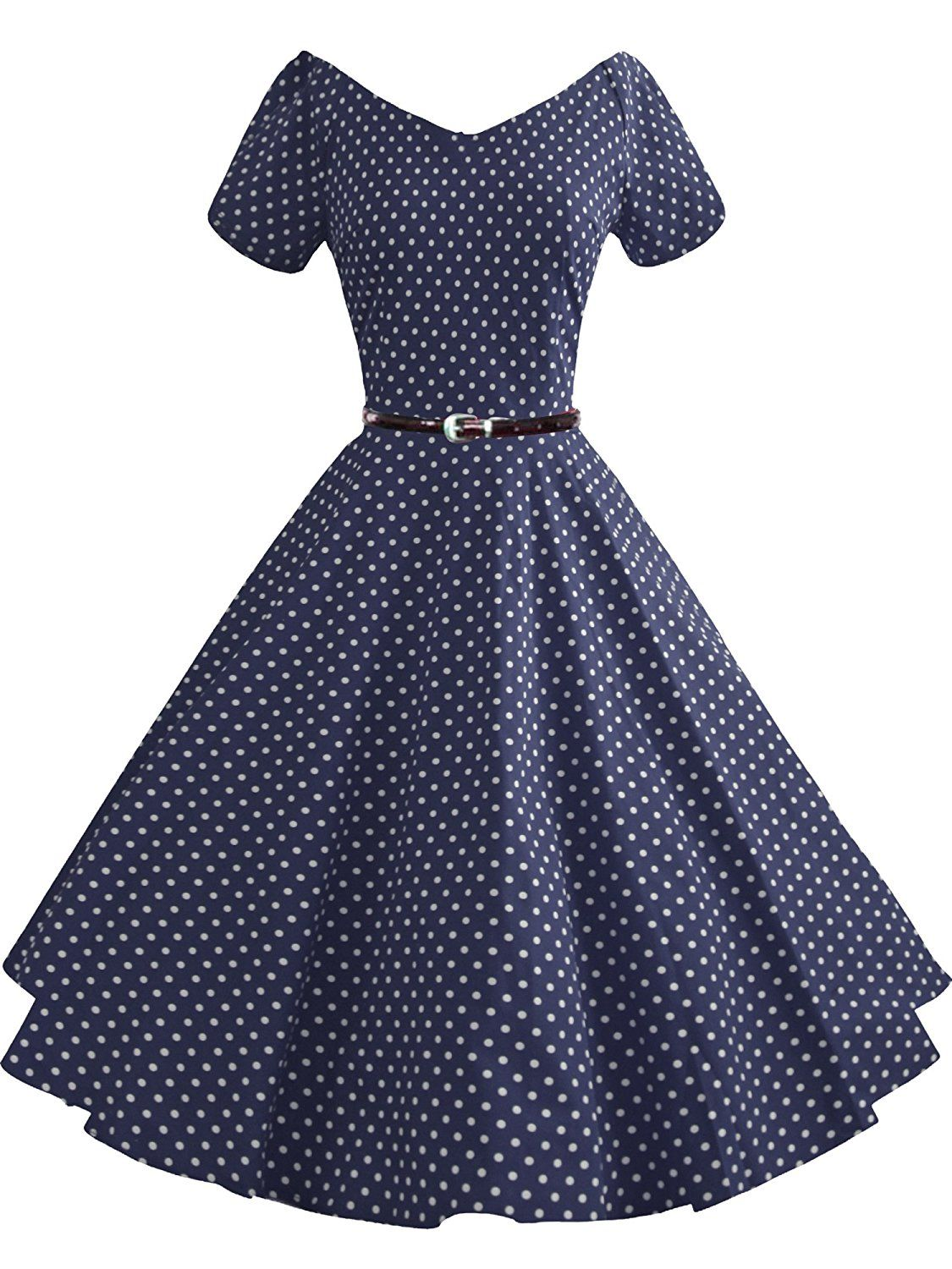 Luouse 40s 50s 60s Vintage V Neck Swing Rockabilly Pinup Ball Gown Party Dress At Amazon Women S Clothing Store Classy Dress Vintage Dresses Fashion Dresses [ 1500 x 1125 Pixel ]