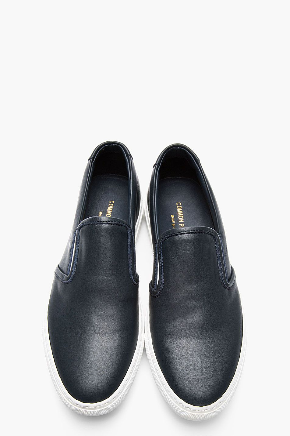 1f9a1ee46 COMMON PROJECTS SSENSE Exclusive Navy Leather Slip-Ons | Classy ...
