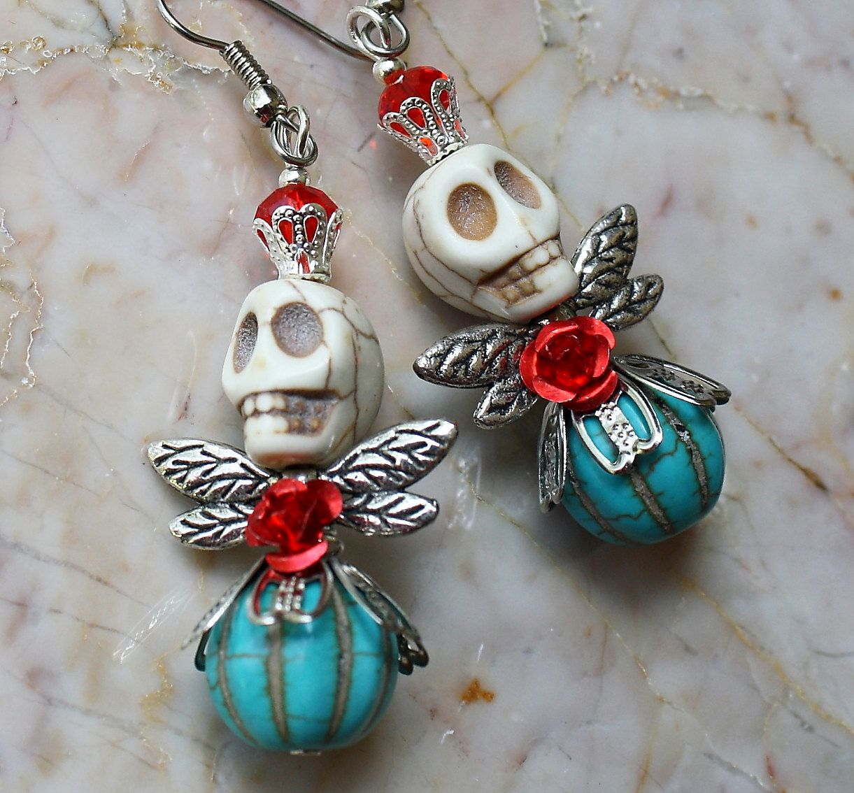 Day of the Dead Dia de los Muertos Frida Kahlo Angel Fairy Red Rose Turquoise Skull Dangle Jewelry Festival Hypoallergenic Earrings. $12.00, via Etsy.