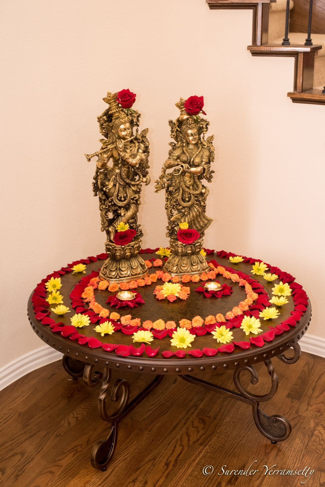 Foyer table decorated with Radha Krishna Bronze statue and