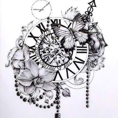 Sand clock tattoo designs  Clock Flowers Butterfly Tattoo Design | Elegant tattoos, Tattoo ...