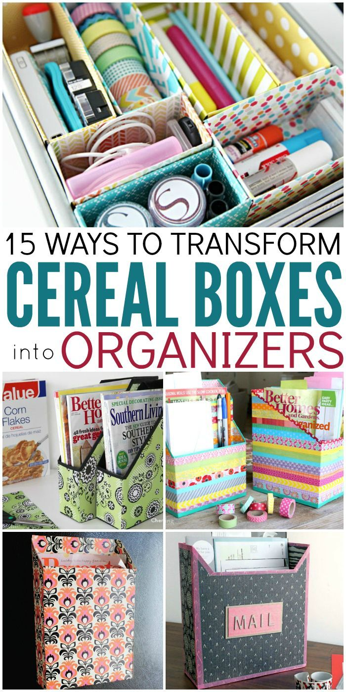 Diy Organization Part - 43: 15 Ways To Make Cereal Box Organizers