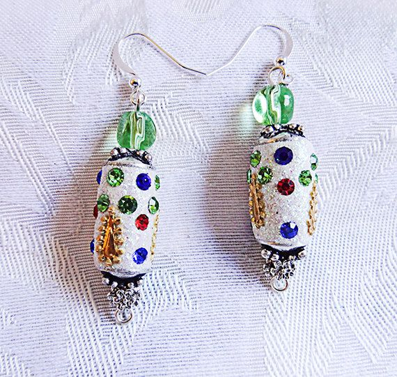 Dangle earrings with jeweled beads and a Swarovski green crystal bead. Drop earrings, Colorful earrings.