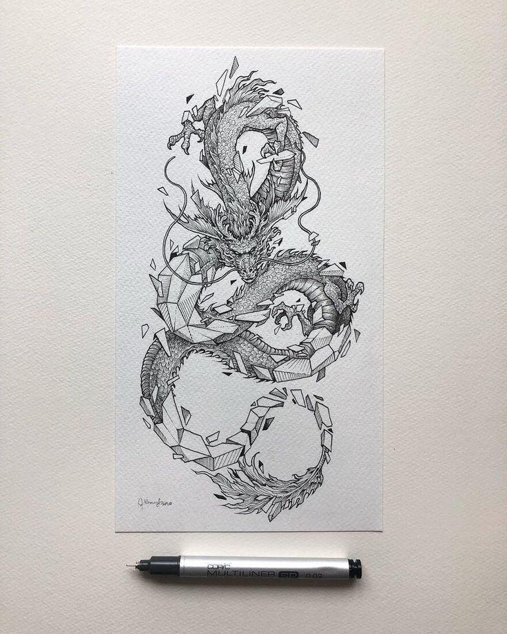 Detaillierte Fantasy Tuschezeichnungen –  Asiatischer Drache. Detaillierte Fanta…