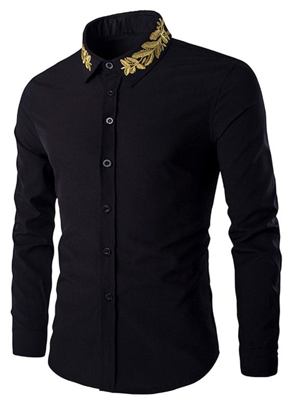 36e602e4a ... Clothing For Men Best Sale Online. Golden Leaves Embroidered Shirt  Collar Long Sleeves Shirt