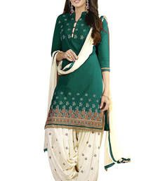 Buy Green american crepe printed unstitched salwar with dupatta punjabi-suit online