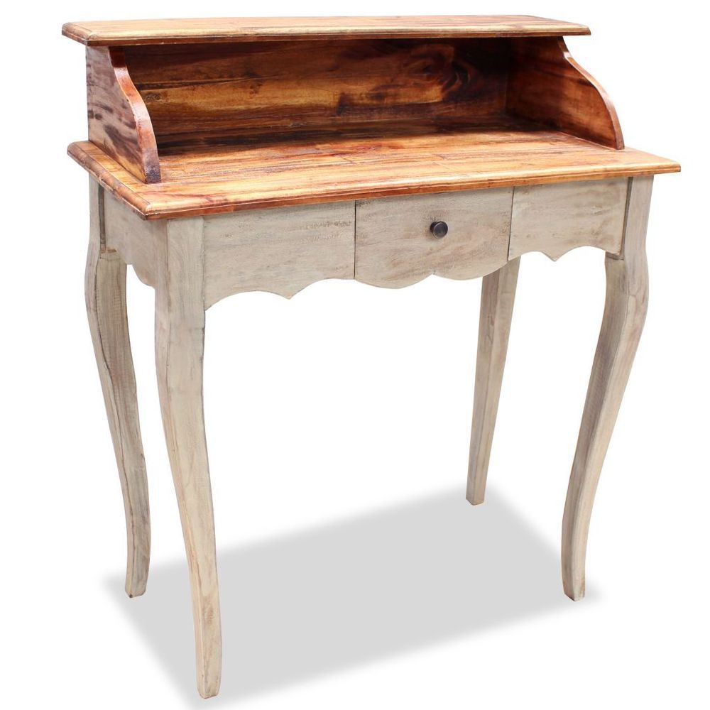 Wooden Writing Desk Reclaimed Wood 1 Drawer Shelf Storage Office Study Furniture Altholz Schreibtisch Schreibtisch Holz Vintage Schreibtische