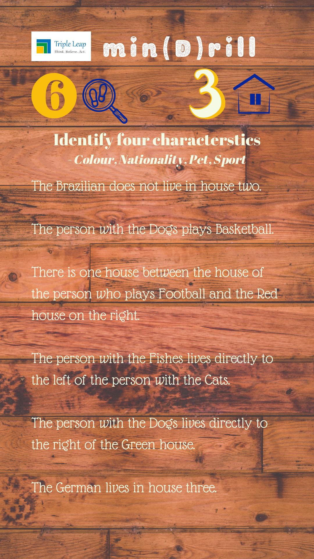 6 clues, 3 houses, 4 characterstics identify them