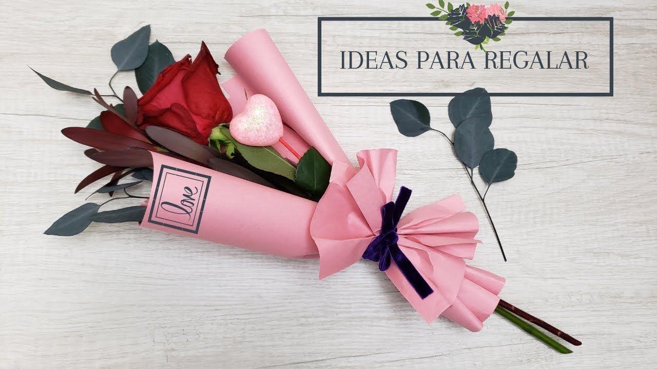 Como Regalar Una Rosa How To Make Flower Bouquet With Single Rose Ho Arreglos De Flores Sencillos Como Hacer Arreglos Florales Arreglos Florales Faciles